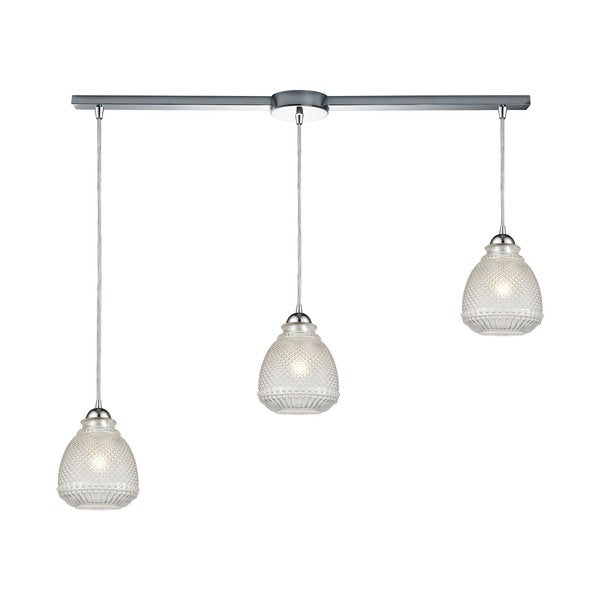 Victoriana 3-Light Linear Bar Pendant, Polished Chrome