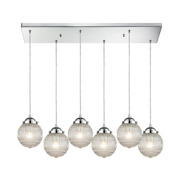 Victoriana 6-Light Rectangular Pan Pendant, Polished Chrome