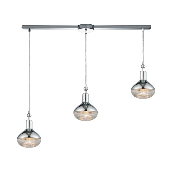 Ravette 3-Light Linear Bar Pendant, Polished Chrome