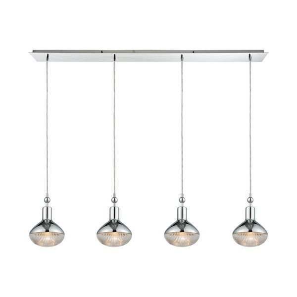 Ravette 4-Light Linear Pan Pendant, Polished Chrome