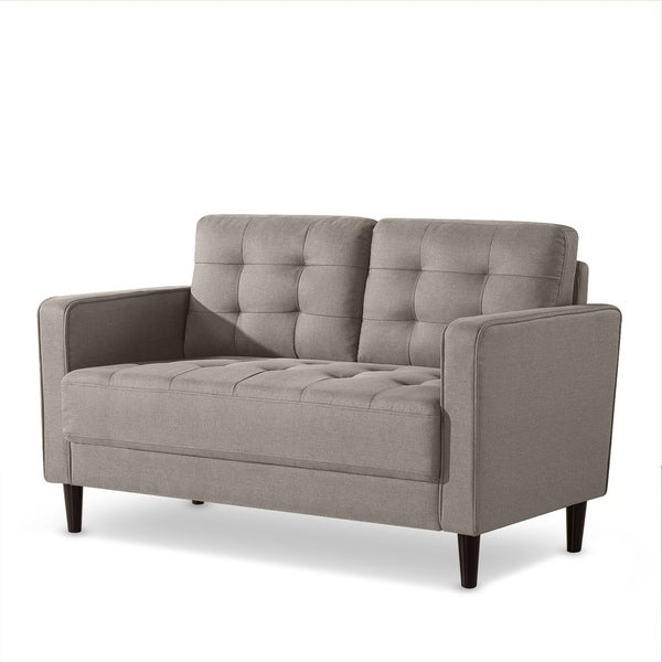 Shop Priage By Zinus 528 Inch Mid Century Loveseat Stone Grey