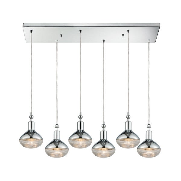 Ravette 6-Light Rectangular Pan Pendant, Polished Chrome