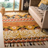 Safavieh Hand-Hooked Suzani Bohemian & Eclectic Rust / Gold Wool Rug - 3' x 5'