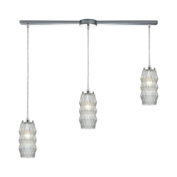 Zigzag 3-Light Linear Bar Pendant, Polished Chrome
