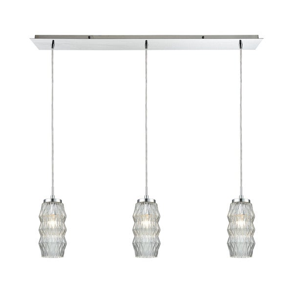Zigzag 3-Light Linear Pan Pendant, Polished Chrome