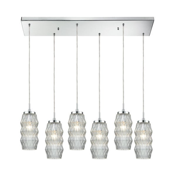 Zigzag 6-Light Rectangular Pan Pendant, Polished Chrome