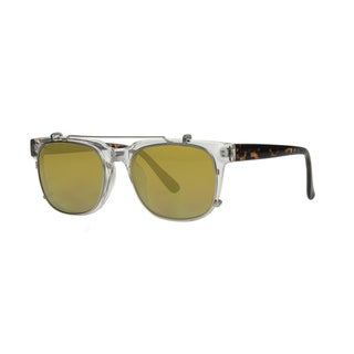 aa70c0270f4 Anarchy Unify Men s Clear Demi Frame with Mirrored Lens Sunglasses -  Tortoise - Medium