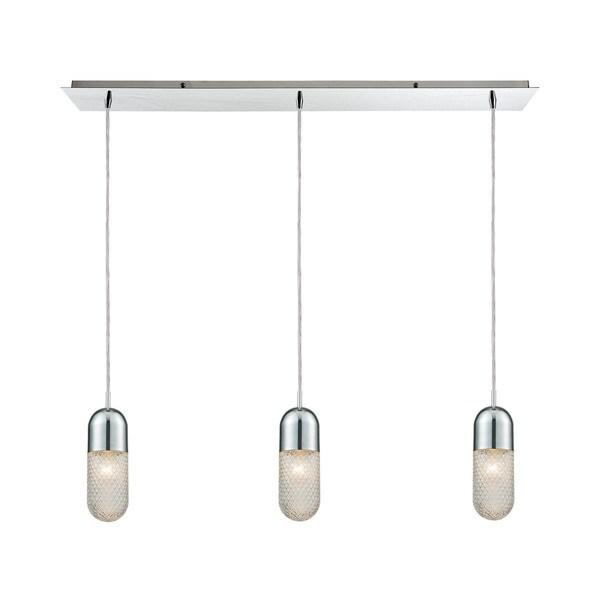 Capsula 3-Light Linear Pan Pendant, Polished Chrome