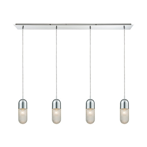 Capsula 4-Light Linear Pan Pendant, Polished Chrome