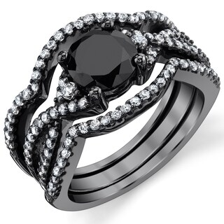 Oliveti 3 Piece Black Sterling Silver Engagement Ring Bands, Bridal set W/ 1.25 Carat Round Cubic Zirconia