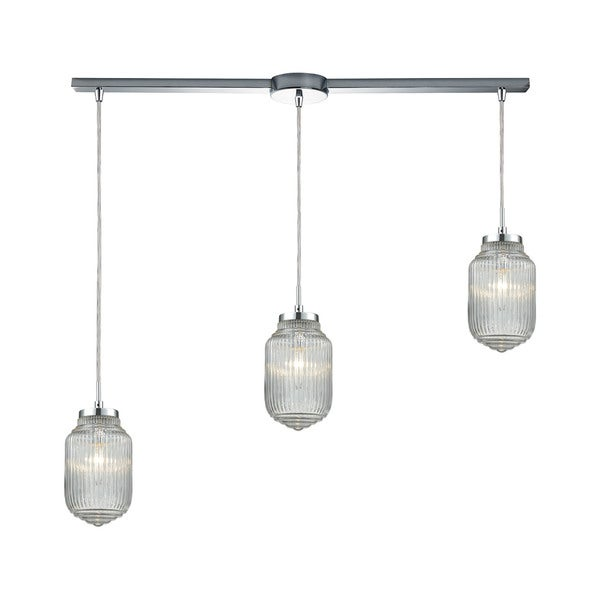 Dubois 3-Light Linear Bar Pendant, Polished Chrome