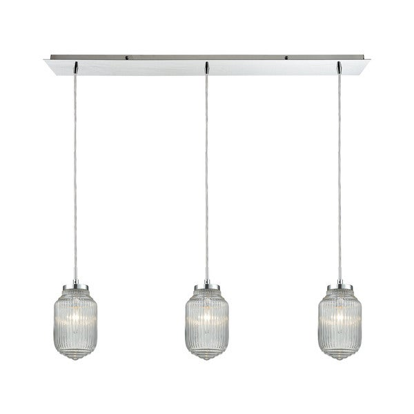 Dubois 3-Light Linear Pan Pendant, Polished Chrome