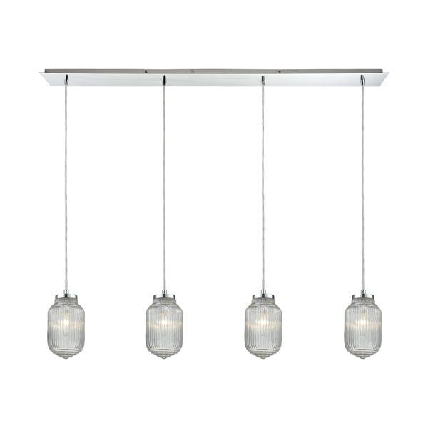 Dubois 4-Light Linear Pan Pendant, Polished Chrome