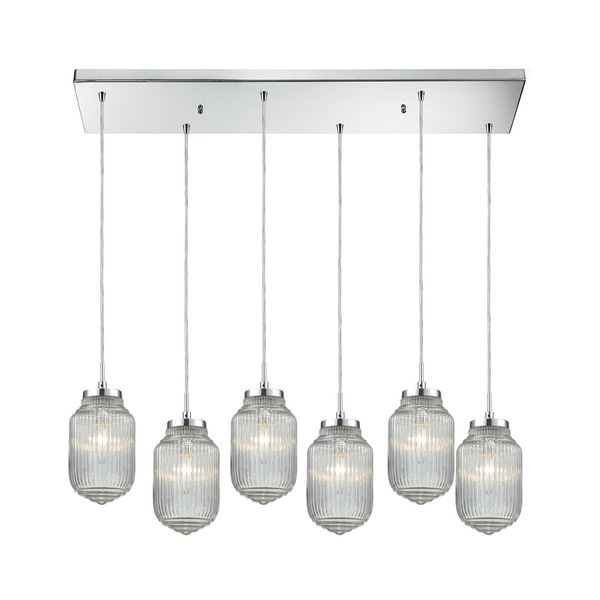 Dubois 6-Light Rectangular Pan Pendant, Polished Chrome
