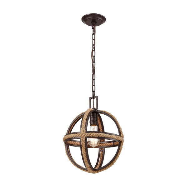 Natural Rope 1-Light Pendant, Oil Rubbed Bronze