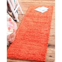 Unique Loom Solid Shag Runner Rug - 2' 6 x 13'