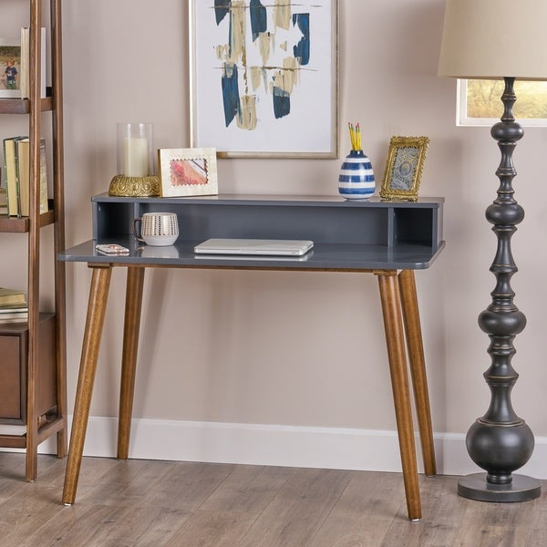 Elodie Mid Century Rubberwood Writing Desk by Christopher Knight Home