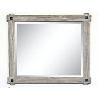 """42"""" Rustic Wood Framed Mirror in Grey-Driftwood Finish - wk8242m-gr - N/A"""