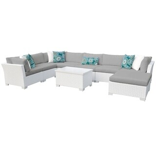 Continental OH0499 9-Piece Outdoor Patio Wicker Sectional Set with Ottoman and Storage Table