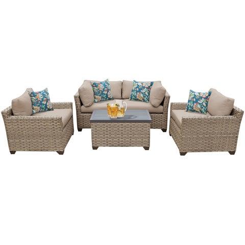 Sandbar OH0514 5-Piece Outdoor Patio Wicker Arm Chair and Loveseat Set