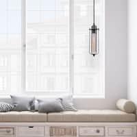 Shilo 1-Light Pendant, Galvanized Finish, Black Woven Fabric Cord, T-Type Vintage Edison Bulb Included