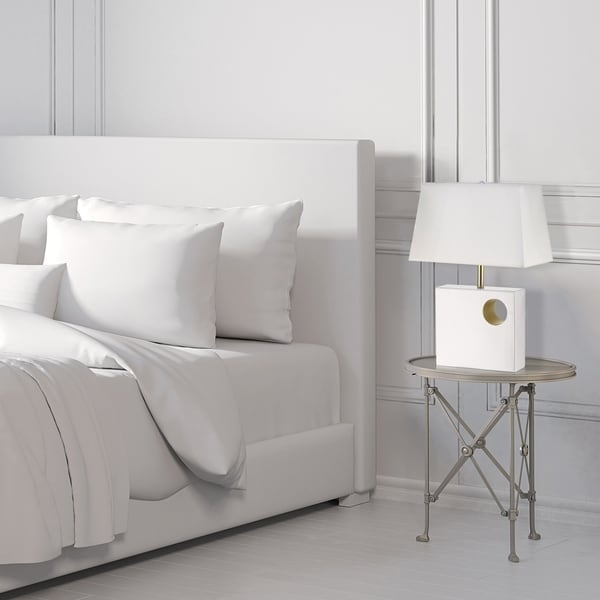 """Vera 22"""" Table Lamp, Glossy White Finish, Gold Accents. Opens flyout."""