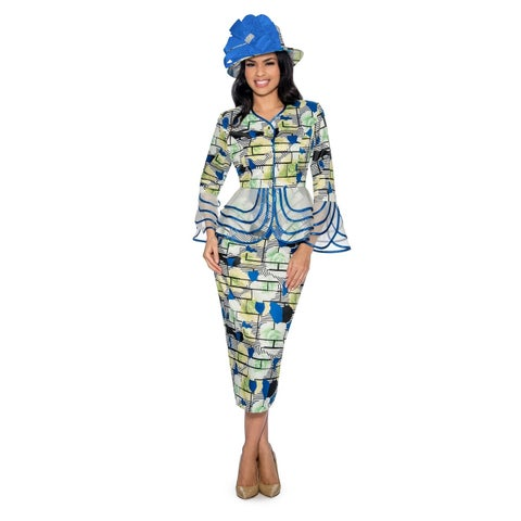 Giovanna Signature Women's 2-pc Floral Print Skirt Suit with Organza