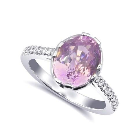 14K White Gold 4.27ct TGW Padparadscha Sapphire and Diamond Engagement Ring