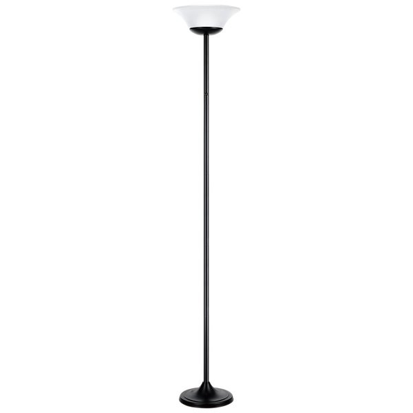 "72"" 15W LED Integrated Floor Lamp, Matte Black Finish, White Frosted Shade"