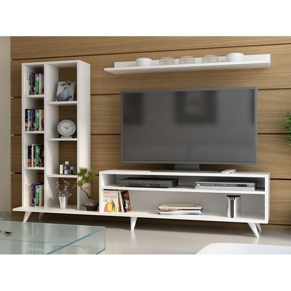 Decorotika Luka 71 Tv Media Stand With Bookshelves And Wall Shelf