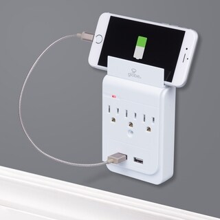 3-Outlet Charging Station Surge Protector Wall Tap, 2x USB Ports, Phone Holder, White Finish