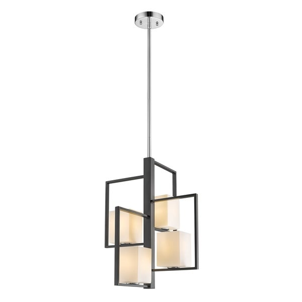 Eglo Regis Falls 4-Light Pendant with Black and Brushed Nickel Finish and Opal Glass