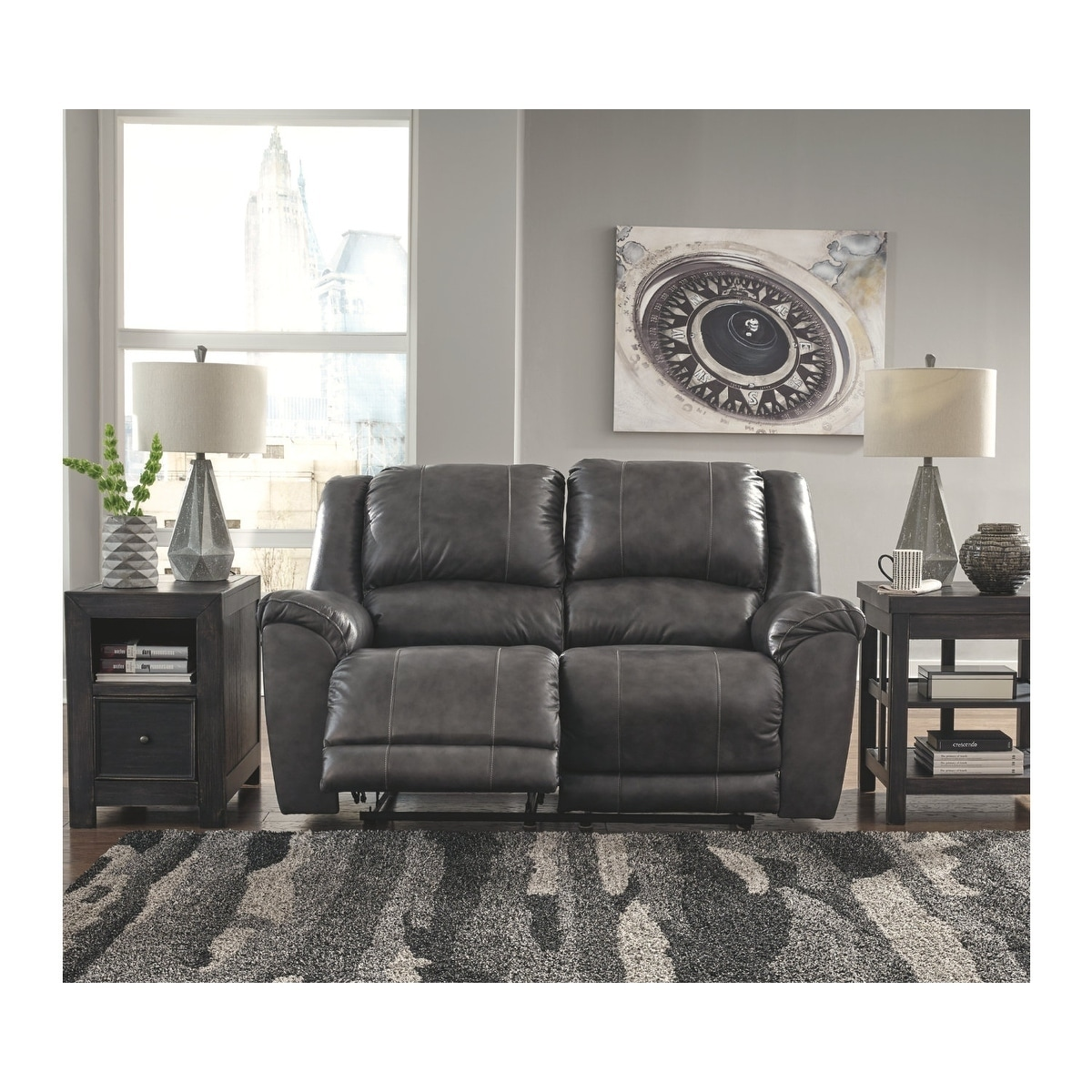 Terrific Signature Design By Ashley Charcoal Persiphone Reclining Loveseat Short Links Chair Design For Home Short Linksinfo