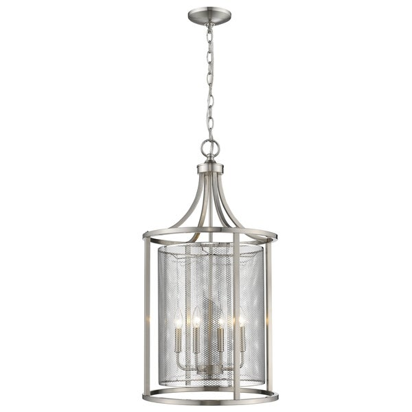 Eglo Verona 4-Light Pendant with Bushed Nickel Finish and Metal Cage Shade