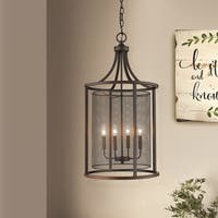 Eglo Verona 4-Light Pendant with Oil Rubbed Bronze Finish and Metal Cage Shade