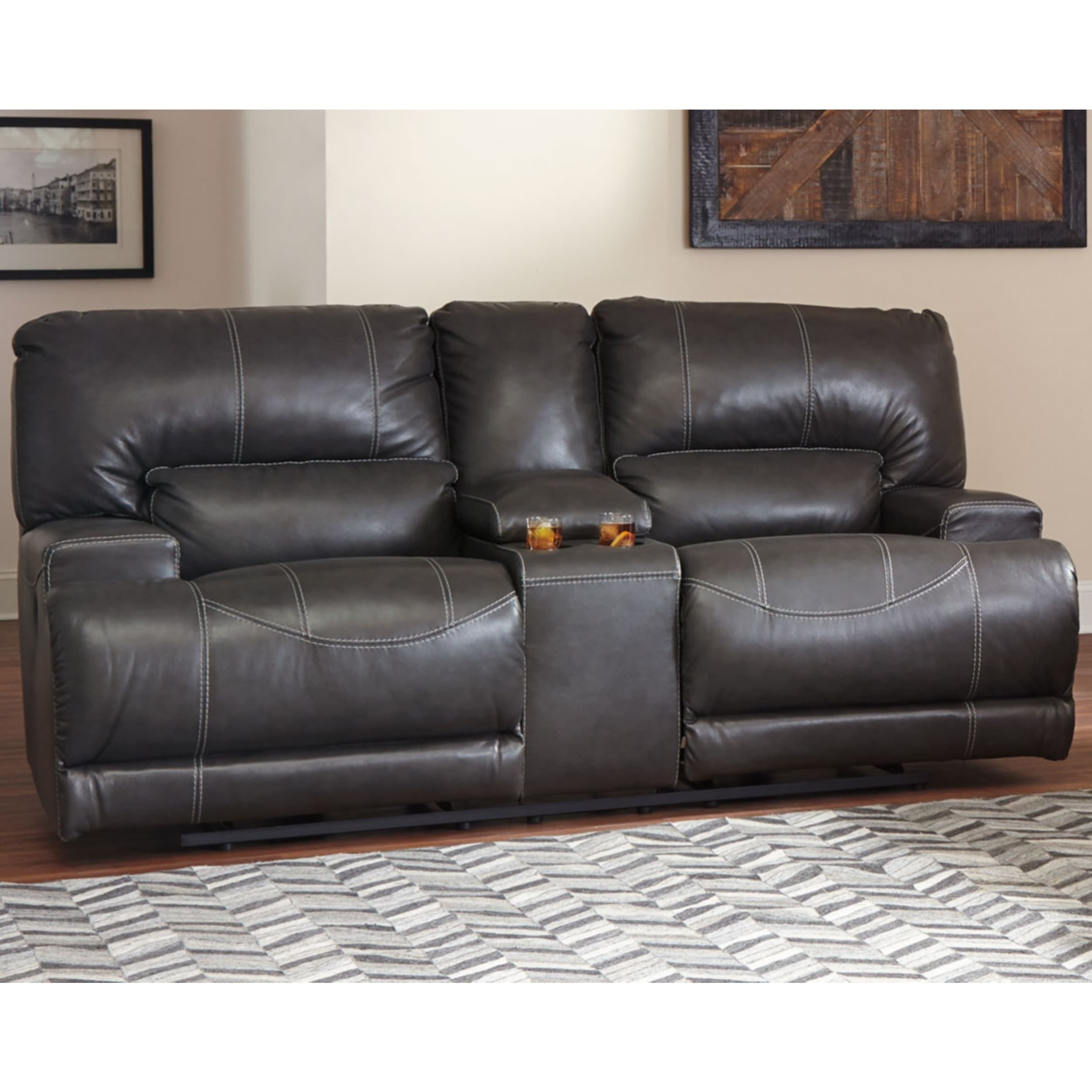 Pleasant Mccaskill Power Reclining Loveseat With Console Gray Pabps2019 Chair Design Images Pabps2019Com