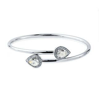 Auriya Gold over Silver 2 1/2ct Stackable Pear-cut White Topaz and Diamond Bypass Bangle Bracelet