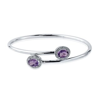 Auriya Gold over Silver 2ct Oval-Cut Purple Amethyst and Halo Diamond Stackable Bypass Bangle Bracelet