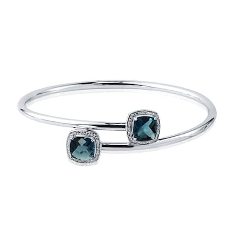 Stackable 4ct Cushion-Cut London-Blue Topaz Bypass Bangle Bracelet with Diamond Accents by Auriya in Gold over Silver