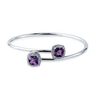 Auriya Gold over Silver 4ct Cushion-Cut Purple Amethyst and Halo Diamond Stackable Bypass Bangle Bracelet