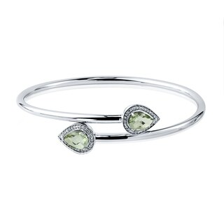 Auriya Gold over Silver 1.50ct Pear Shaped Green Amethyst and Halo Diamond Stackable Bypass Bangle Bracelet