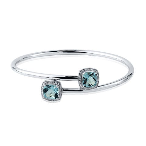 Stackable 5ct Cushion-Cut Sky-Blue Topaz Bypass Bangle Bracelet with Diamond Accents by Auriya in Gold over Silver