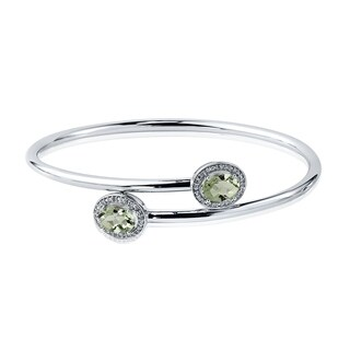 Auriya Gold over Silver 2ct Oval-Cut Green Amethyst and Halo Diamond Stackable Bypass Bangle Bracelet