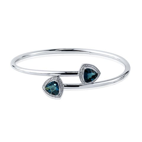 Stackable 3 3/4ct Trillion-Cut London-Blue Topaz Bypass Bangle Bracelet with Diamond Accents by Auriya in Gold over Silver
