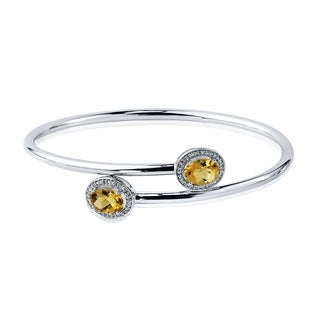 Auriya Gold over Silver 2ct. Oval-Cut Citrine and Halo Diamond Stackable Bypass Bangle Bracelet