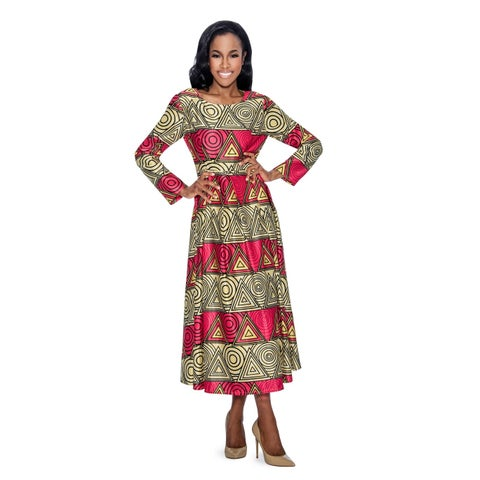 Giovanna Signature Women's Geometric Printed Peachskin A-line Dress with Pockets