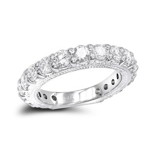 Ladies 14K Rose, White or Yellow Gold Unique Diamond Wedding Band 1.9ctw by Luxurman