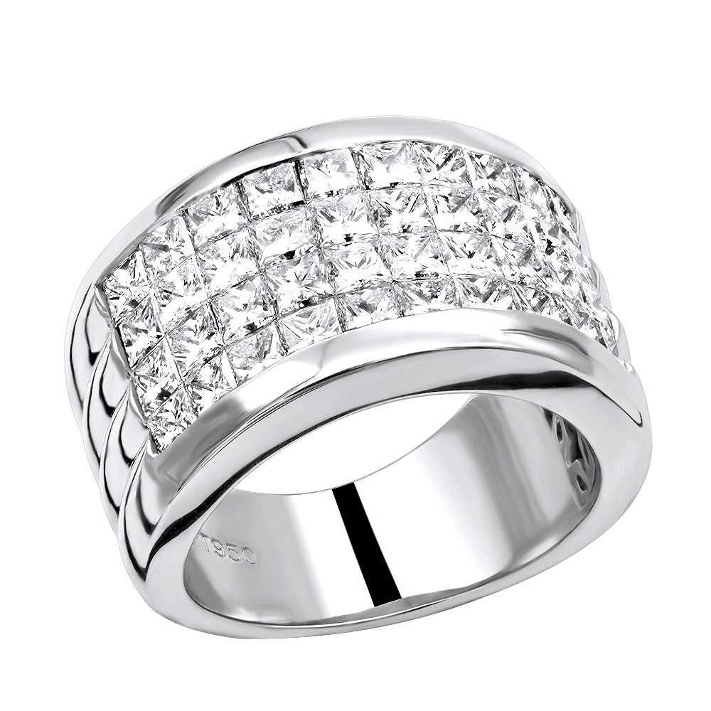 It is just a picture of Platinum 43 Carat G VS Invisible Set Princess Cut Diamond Wedding Band 43ctw by Luxurman