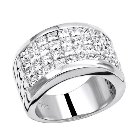 Platinum 5 Carat G VS Invisible Set Princess Cut Diamond Wedding Band 5ctw by Luxurman