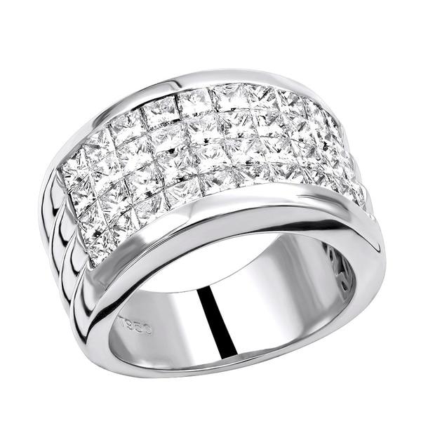 Platinum 5 Carat G VS Invisible Set Princess Cut Diamond Wedding Band 5ctw by Luxurman. Opens flyout.